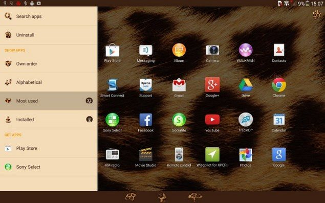Xperia Темы на Sony Xperia Tablet Z с Android 4.3