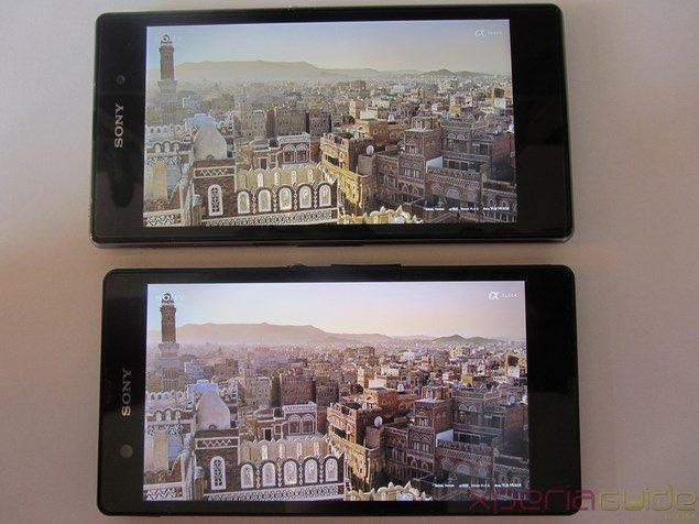 Сравнение экранов Sony Xperia Z1 и Sony Xperia Z