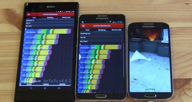 Сравнение результатов Sony Xperia Z Ultra, Galaxy Note3, Galaxy S4 в бенчмарках