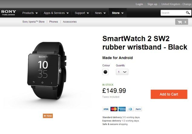 Sony SmartWatch 2 можно купить уже сегодня. Цена умных часов