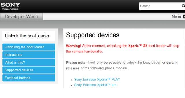 При разблокировке загрузчика в Sony Xperia Z1 не работает камера