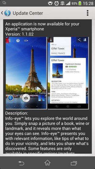 Сони выпустила обновление для Info-eye 1.1.02 в Sony Xperia Z1