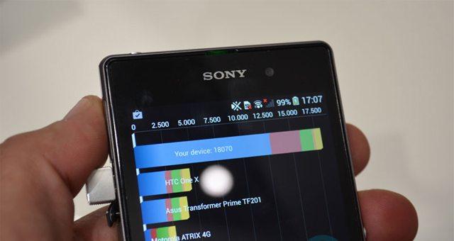 Видео-тест производительности Sony Xperia Z1 в Vellamo benchmarks, Quadrant, AnTuTu и GFXBench