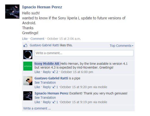 Sony Xperia L получит обновление до Android 4.3 уже в средине ноября