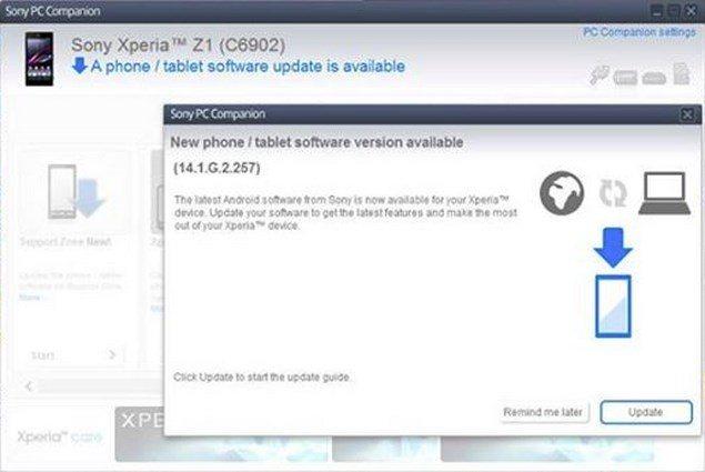 Обновление прошивки - 14.1.G.2.257 для Sony Xperia Z1