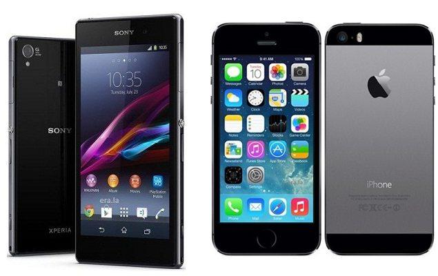 Тест сравнение Sony Xperia Z1 и Apple iPhone 5S