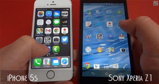 Сравнение скорости работы iPhone 5s и Sony Xperia Z1 - speed-тест
