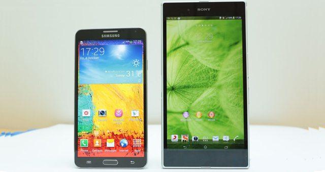 Сравнение фаблетов Samsung Galaxy Note 3 и Sony Xperia Z Ultra