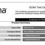 На сайте DLNA были сертифицированы Sony Xperia SP, TX, T и V с Android 4.3