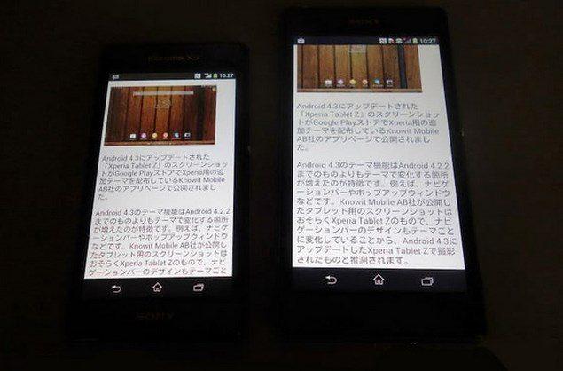 Сравнение дисплеев и углов обзора Sony Xperia Z1 f Mini и Sony Xperia Z1