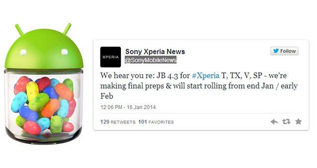 Прошивка Android 4.3 для Sony Xperia SP, T, TX, V выйдет в течении месяца