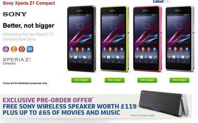 Цена нового Sony Xperia Z1 Compact в европе по предварительному заказу