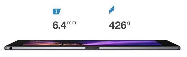Планшет Sony Xperia Tablet Z2 габариты