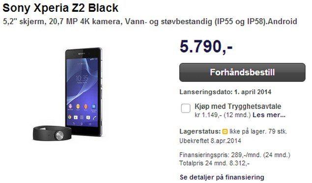 Начался предварительный заказ Sony Xperia Z2 в Европе. Цены, дата выхода и подарки