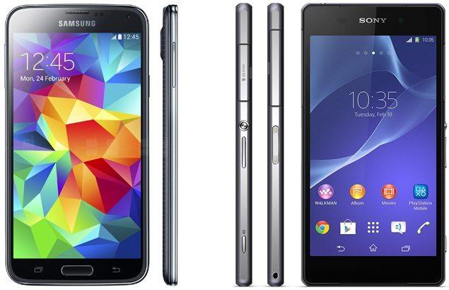 Сравнение дизайна и размеров Дизайн смартфтонов Xperia Z2 против Galaxy S5