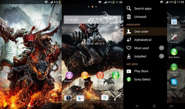 Тема Darksiders Xperia Theme для смартфонов Sony Xperia