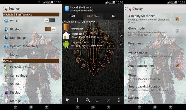 Уникальная тема Darksiders v.2 Theme для Сони Иксперия - смартфонов и планшетов с Android 4.3-4.4