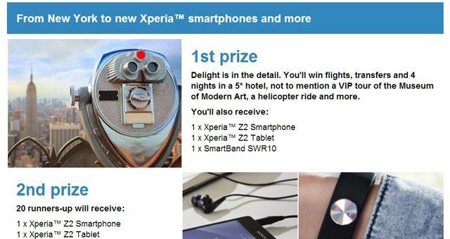 Розыгрыш от компании Sony с ценными призами - Xperia Z2, Tablet Z2 и браслет SmartBand
