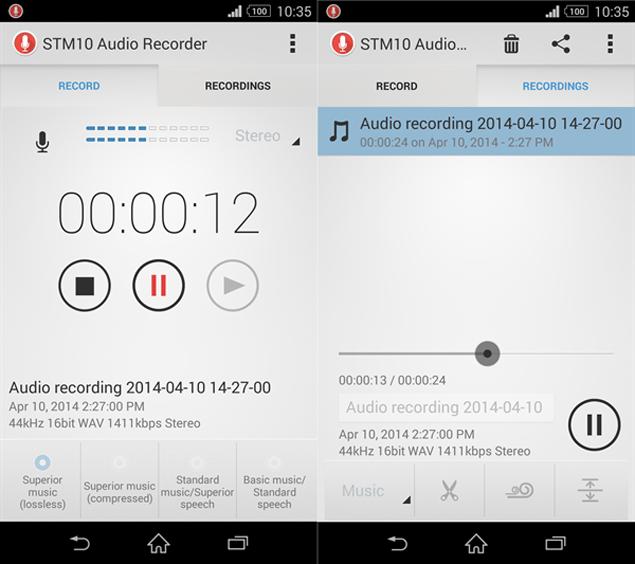 Приложение Audio Recorder с микрофона Sony STM10