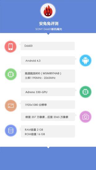 Предварительные характеристики Sony D6603 - утечка скриншотов