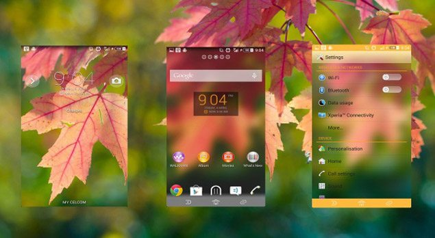 Пользовательская Xperia тема Clean Fall Theme для Sony Xperia Z1, Z, ZL, ZR, SP