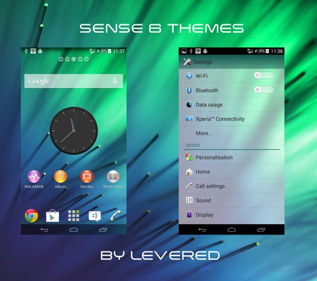 Новая пользовательская тема Тема Xperia Sense 6  для Sony Xperia