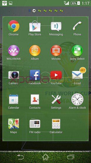 Xperia тема FIFA World Cup 2014 - скачать бесплатно для Sony Xperia Z, Z1, Compact, Ultra, ZL, ZR, SP, C, M2, T2