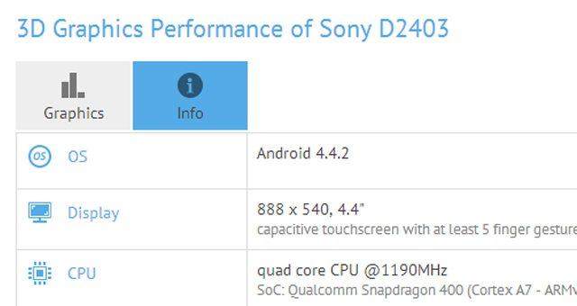 Смартфон Sony Xperia D2403 - предварительные характеристики