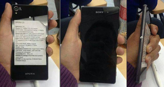 Sony Xperia Z3 - первые характеристики и фотографии