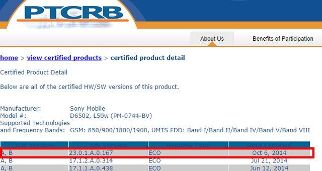 Сертификацию прошла прошивка Android 4.4.4 (23.0.1.A.0.167) для Sony Xperia Z2