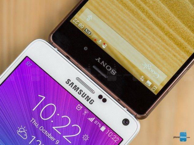 Внешний вид Sony Xperia Z3 и Samsung Galaxy Note 4 - сравнение на фото