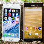 Фото со сравнением дизайна Sony Xperia Z3 и iPhone 6