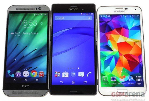 Смарфтон Sony Xperia Z3 - сравнение габаритов с HTC One M8 и Samsung Galaxy S5