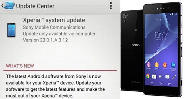 Обновление 23.0.1.A.3.12 на Xperia Z2 и 23.0.1.A.4.44 на Tablet Z2 - начало выхода в Тайвани