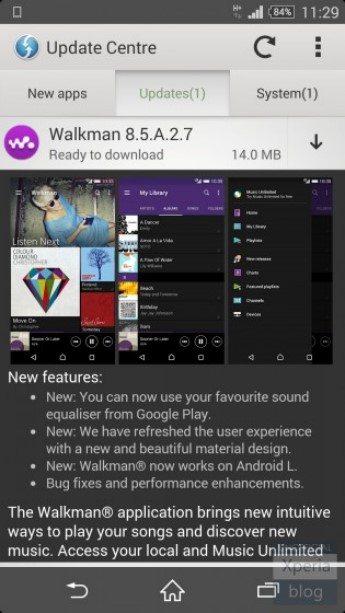 Скачать обновление Walkman (8.5.A.2.7) в стиле Lollipop