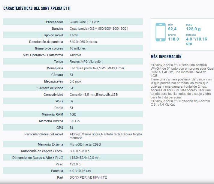 Информация о Sony Xperia E1 II