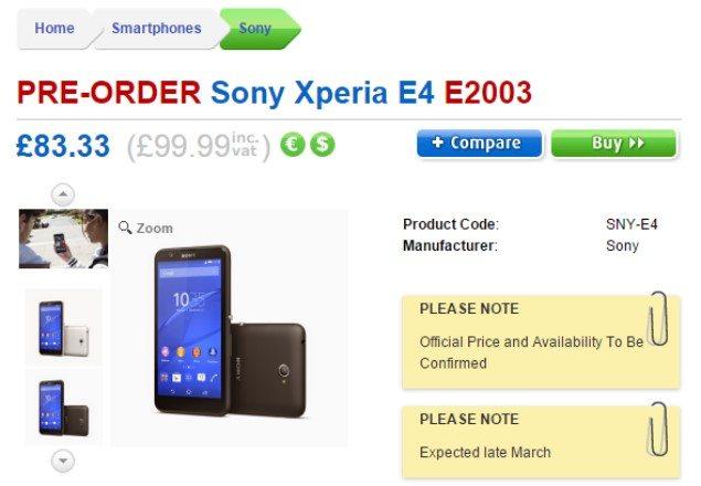 Предварительная дата выхода и цена Sony Xperia E4 в Великобритании