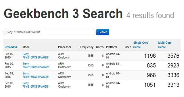 Тест прототипа Sony Xperia Z4 в Geekbench 3