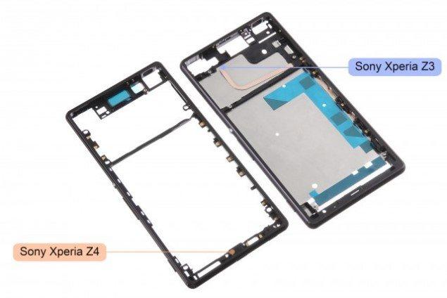Сравнение металлического каркаса Sony Xperia Z4 и  Xperia Z3 на фотографиях