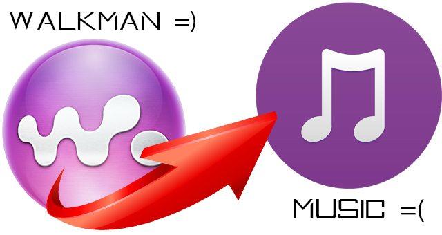 "плеер ""Walkman"" станет ""Music"""