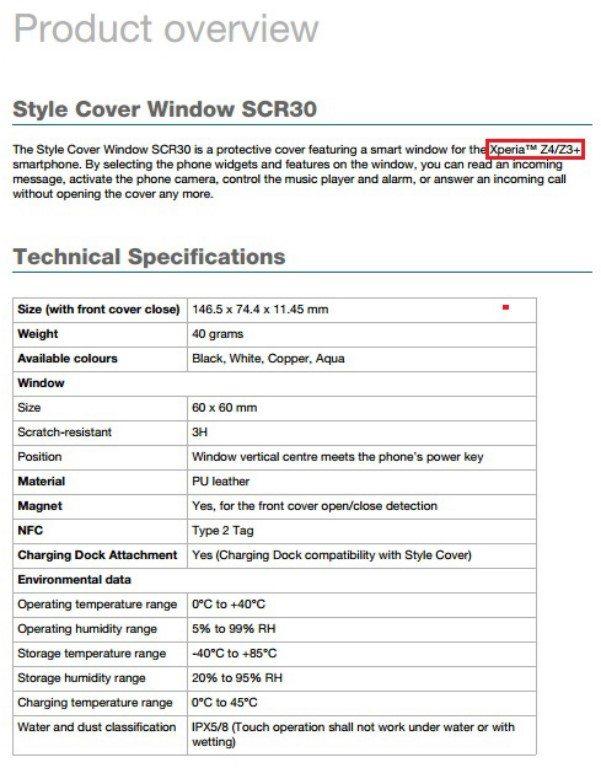Sony Xperia Z3+ мировая версия Z4