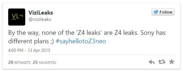 Sony Xperia Z4 или Xperia Z3 Neo могут показать 20 апреля