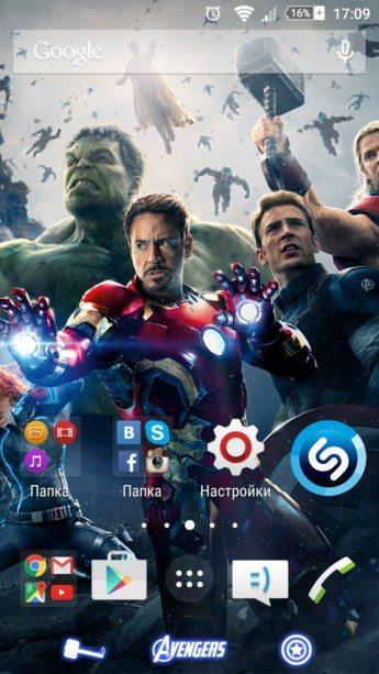 Xperia Тема Avengers для Sony Xperia Z3, Z2, Z1, Compact, M4, Z, ZR, ZL, M2, C3, T2, T3, Ultra