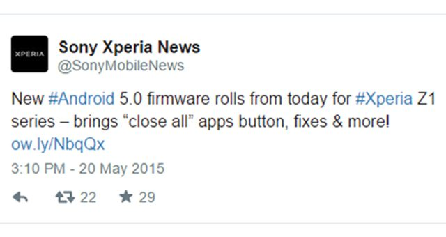 обновление Android 5.0.2 Lollipop (14.5.A.0.270) для Xperia Z1, Z1 Compact, Z Ultra
