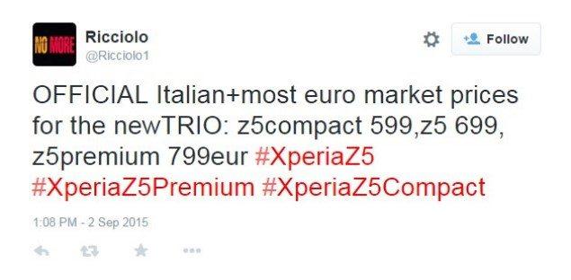 цена Xperia Z5, Z5 Compact, Z5 Premium и дата выхода в европе
