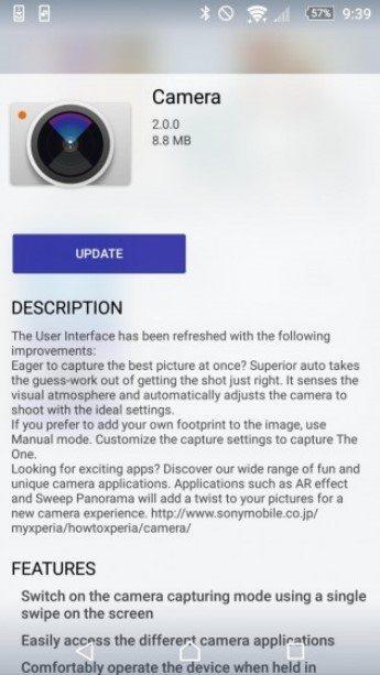 обновление приложения Sony Камера 2.0.0