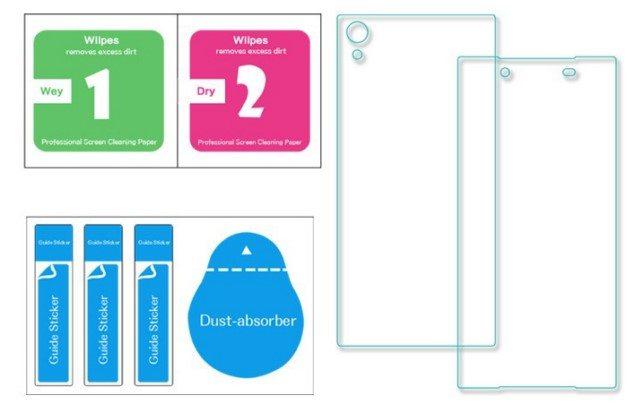 переднее и заднее защитное стекло на Xperia Z5