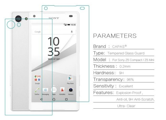 переднее и заднее защитное стекло на Xperia Z5 Compact