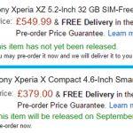Европейские цены Xperia XZ и Xperia X Compact и дата начала продаж