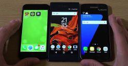 скорость работы Sony Xperia XZ и других смартфонов: Galaxy S7, iPhone 7, Google Pixel